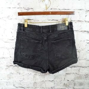 ZARA Trafaluc Black Stretch Denim Jean Shorts